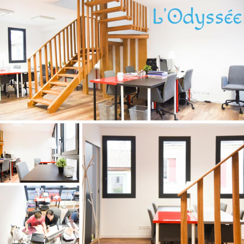 Open space 1er étage L'Odyssée coworking Bordeaux