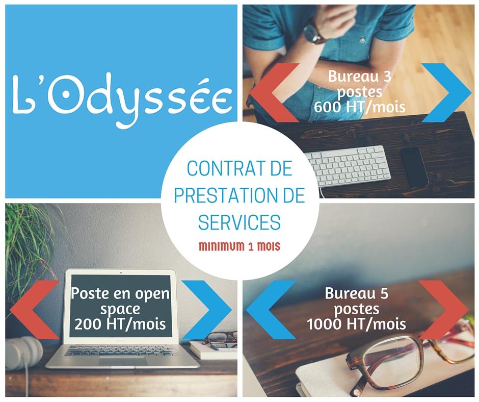 Tarifs L'Odyssée bureaux et coworking Bordeaux Sud